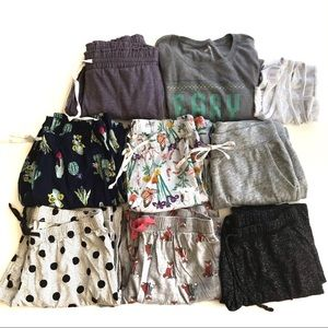 Old Navy NINE Piece Warm Fall Pajama Pants Lot!
